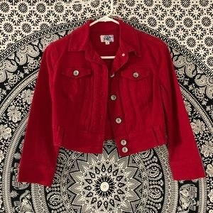 Red Denim Cropped Jacket